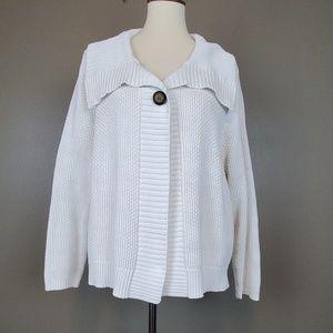 Liz Claiborne White One Button Cardigan Size XL